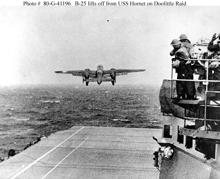 B-25 lifts off on Doolittle Raid